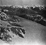 Lamplugh Glacier, tidewater glacier looking down glacier from icefield, September 12, 1973 (GLACIERS 5585).jpg