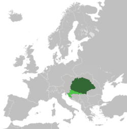 The Kingdom of Hungary (dark green) and Croatia-Slavonia (light green) within Austria-Hungary in 1914