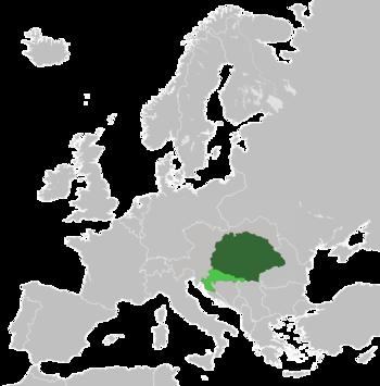 The Kingdom of Hungary (dark green) and Croatia-Slavonia (light green) within Austria-Hungary in 1914