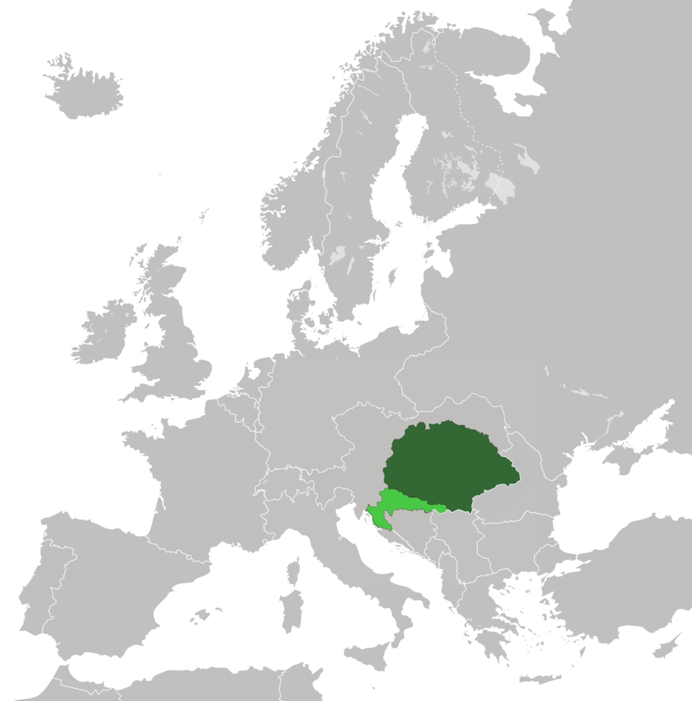 Kingdoms of Hungary (dark green) and Croatia-Slavonia (light green) within Austria-Hungary in 1914