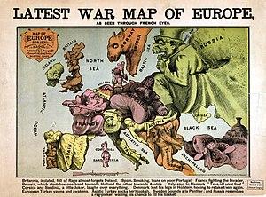 European Civil War - A French satirical cartoon map of Europe in 1870