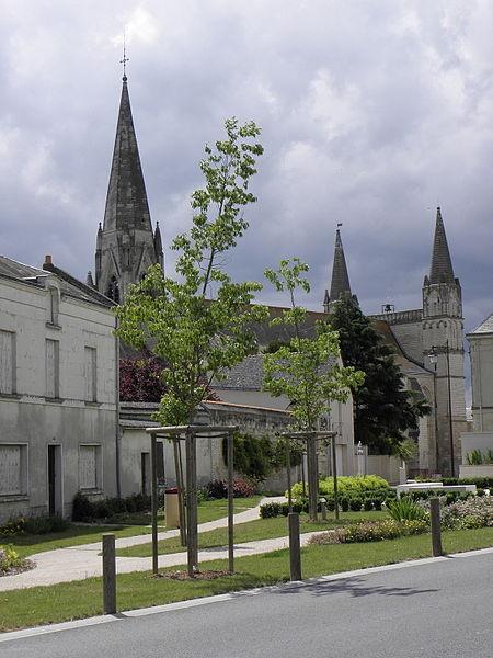 Vue septentrionale de la collégiale du Puy-Notre-Dame (49).