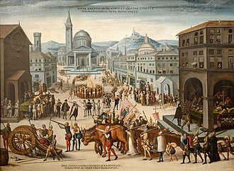 Looting of the Churches of Lyon by the Calvinists, in 1562, Antoine Carot Le Sac de Lyon par les Reformes - Vers1565.jpg
