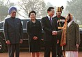 Lee Myung Bak, and Mrs. Kim Yoon Ok, with the President, Smt. Pratibha Devisingh Patil and the Prime Minister, Dr. Manmohan Singh at the ceremonial reception, at Rashtrapati Bhavan, in New Delhi on January 25, 2010.jpg