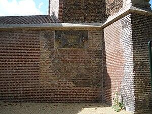 """Vrouwekerk - Remains of the Vrouwekerk; note the inscription En Salicht Leiden (""""and bless Leiden"""")"""