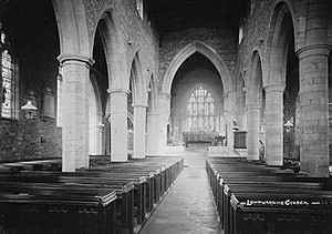 Leintwardine - Leintwardine Church, photographed in the 1910s by Percy Benzie Abery