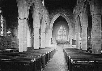 Leintwardine - Leintwardine Church, photographed in the 1910s by Percy Benzie Abery