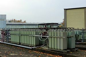 Film capacitor - One of several energy storage power film capacitor banks, for magnetic field generation at the Hadron-Electron Ring Accelerator (HERA), located on the DESY site in Hamburg