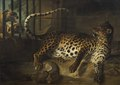 Leopard in a Cage confronted by two Mastiffs (Jean-Baptiste Oudry) - Nationalmuseum - 17866.tif