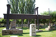 Monumento Al Campesino De Garrigas, En El Parque De Borjas Blancas. Prensa  De Aceite Del Siglo XVI