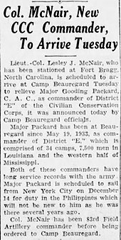 Article announcing McNair as Louisiana area CCC Commander