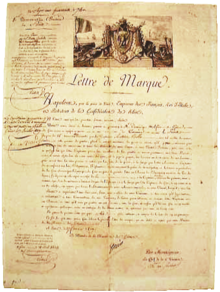 Letter of marque given to Captain Antoine Bollo via the shipowner ...