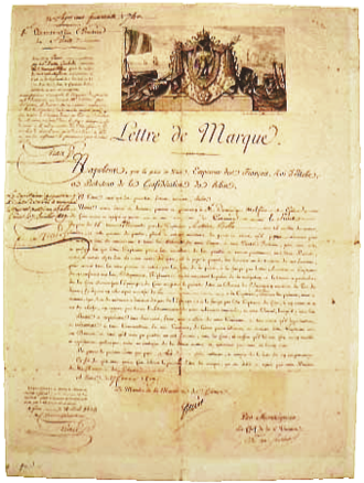 Letter of marque - Letter of marque given to Captain Antoine Bollo via the shipowner Dominique Malfino from Genoa, owner of the Furet,  a 15-tonne privateer, 27 February 1809