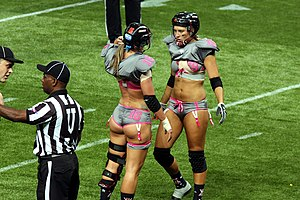 Legends Football League - Referees and players during the All-Fantasy Game, Sydney, 2012