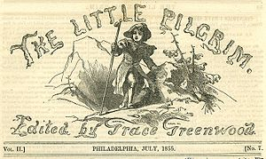 Sara Jane Lippincott - The Little Pilgrim masthead, 1855