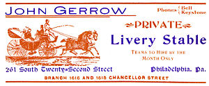 Livery yard - Livery stable ad, 1905