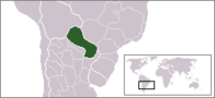 A map showing the location of Paraguay