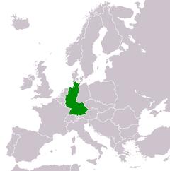 Vesttysklands' beliggenhed i Europa