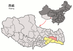Location of Bomê County within Tibet