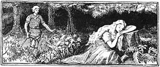 Skáldskaparmál - Near a wood, the goddess Sif rests her head on a stump while the half-deity Loki lurks behind, blade in hand. Loki intends to cut Sif's hair per a myth recounted in Skáldskaparmál.