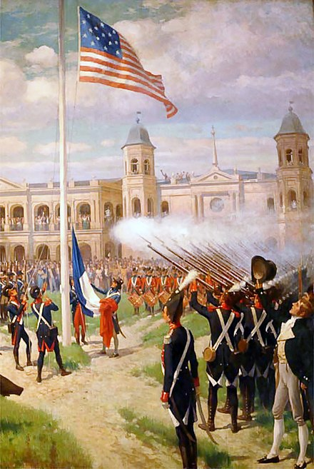 Flag raising in the Place d'Armes of New Orleans, marking the transfer of sovereignty over French Louisiana to the United States, December 20, 1803, as depicted by Thure de Thulstrup Louisiana Purchase New Orleans Thure de Thulstrup.jpg