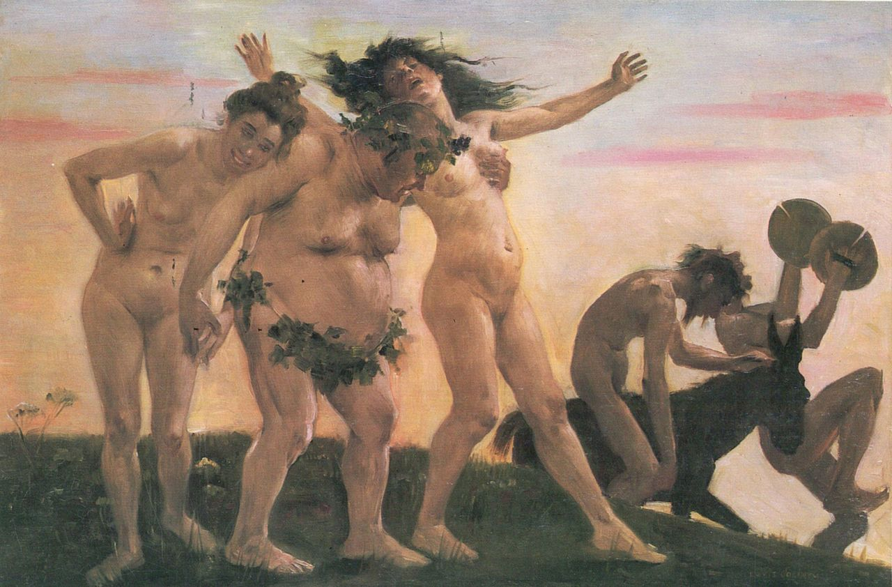 Lovis Corinth Heimkehrende Bacchanten 1898 by Lovis Corinth - [1]. Licensed under Public Domain via Wikimedia Commons