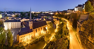 Luxembourg City - Old City of Luxembourg at night