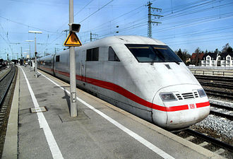 Munich Pasing station - ICE 1 Heppenheim/Bergstraße in München-Pasing station running towards Frankfurt