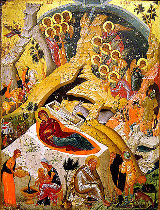 Serbian Christmas traditions - An icon representing the Nativity of Jesus Christ.