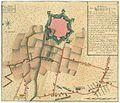 MIRANDOLA - Relation der Belagerung von Mirandola, 1742 usw. Grundriß der befestigten Stadt, davor die Aufstellung der österreichisch-sardinischen und der spanischen Truppen, rechts oben Erklärungen a - y.jpg