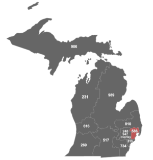Area code 586 - Map of area code 586 in Michigan.