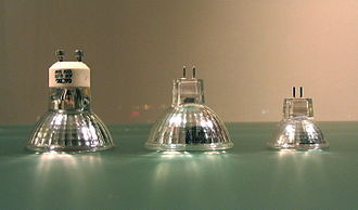 Multifaceted reflector - Left to right: MR16 with GU10 base, MR16 with GU5.3 base, MR11 with GU4 or GZ4 base