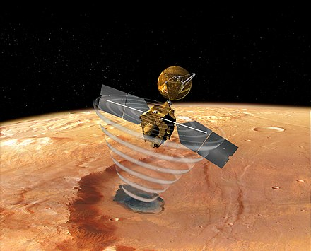 "An artist's concept of MRO using SHARAD to ""look"" under the surface of Mars MRO using SHARAD.jpg"