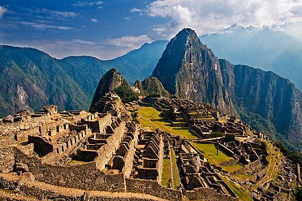 The sanctuary of Machu Picchu, an iconic symbol of pre-Columbian Peru. Machu Picchu, Peru.jpg
