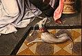 Maestro del gruppo dell'adorazione di anversa, davide che riceve l'acqua di betlemme e salomono e la regina di saba, 1515-20 ca. 04 cane levriero.jpg