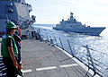 Malabar 2012 INS Satpura (F-48) sailing alongside.jpg