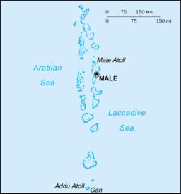 Situo de la ĉefurbo enkadre de Maldivoj