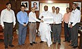 Mallikarjun Kharge receiving a cheque of Rs. 1 crore 25 lakh from the Chairman cum Managing Director, IRCON, Shri Mohan Tiwari, towards the Prime Minister's National Relief Fund for Uttarakhand flood victims.jpg