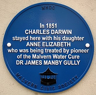 Malvern water - Charles Darwin stayed in Malvern. He hoped that the water would improve his daughter's health.