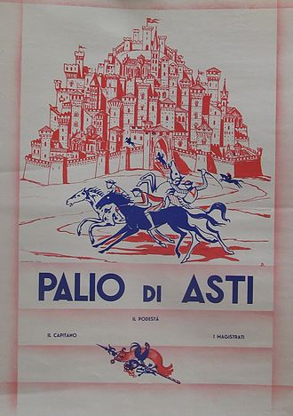 Palio di Asti - 1930's manifesto by Ottavio Baussano