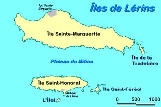 Lérins Islands - Map of the Lérins Islands