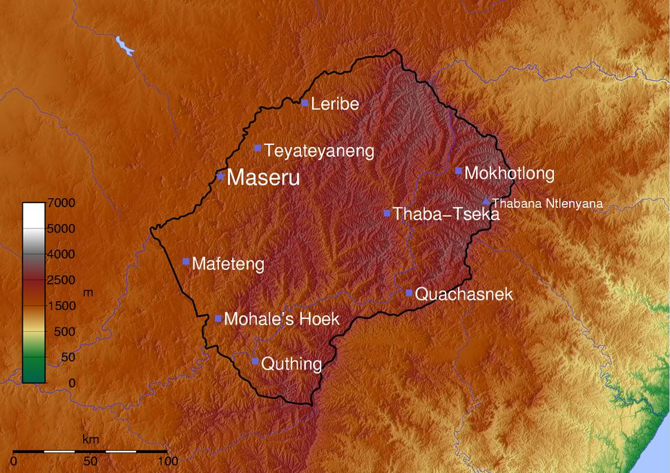 Map Lesotho SRTM