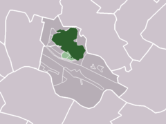 The village (dark green) and the statistical district (light green) in the municipality of Houten.