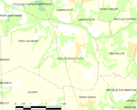 Mapa obce Leuilly-sous-Coucy