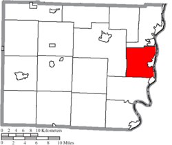 Location of Pultney Township in Belmont County