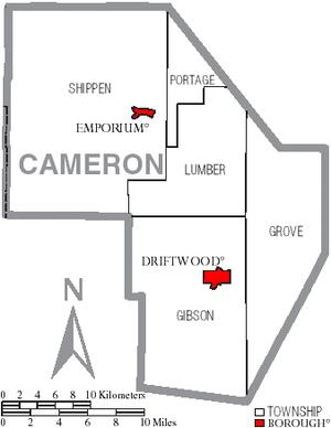 Cameron County High School - Map of Cameron County, Pennsylvania