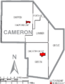 Map of Cameron County Pennsylvania With Municipal and Township Labels.png