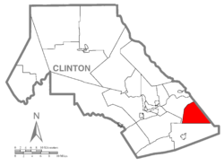Map of Clinton County, Pennsylvania highlighting Crawford Township