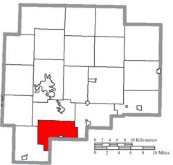 Location of Valley Township in Guernsey County