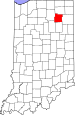 Map of Indiana highlighting Whitley County.svg
